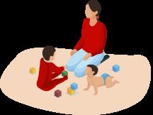 няня с малышами